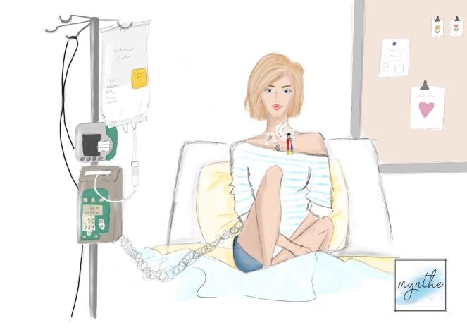 Rechts zie je mijn dialyselijn en links het grote infuus (Hickman) waarover ik de voeding krijg. Die grote witte zak aan mijn infuuspaal is de voeding/TPV